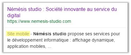 Affichage site mobile dans Google - Némésis studio